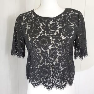 Forever 21 Lace Crop Top Black Sz S